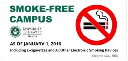 University of Hawaii Smoke-Free Campus sign