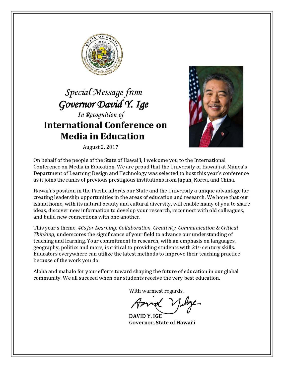 Governor Message_Program_International Conference on Media in Education